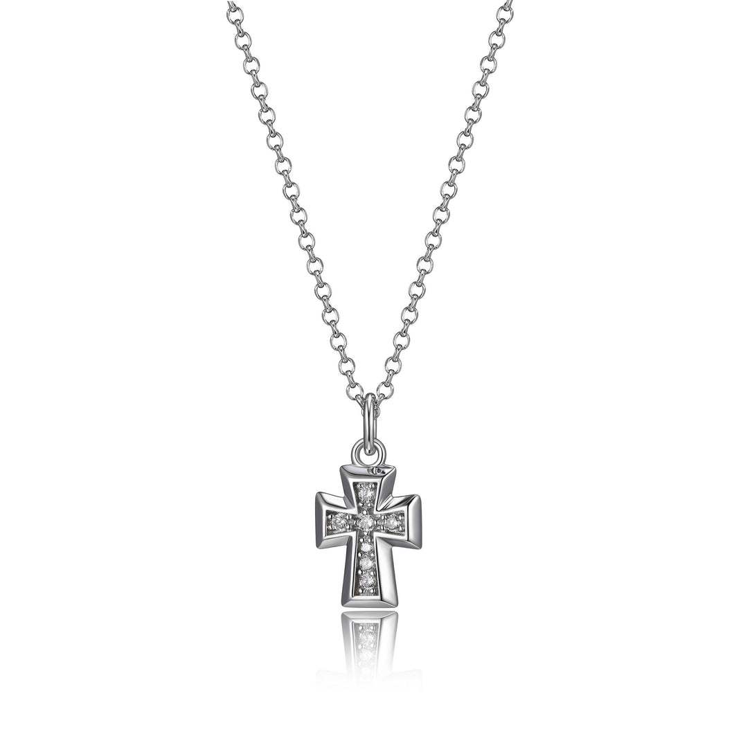 Sterling Silver and Cubic Zirconia  Cross Pendant  Comes on 18-20in Sterling Silver Chain