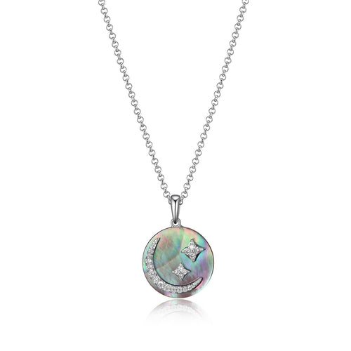Sterling Silver, Cubic Zirconia and Grey Mother of Pearl  ''Eclipse'' Moon Pendant  Comes on a 18-20in Sterling Silver Chain