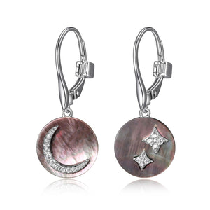 Sterling Silver, Grey Mother of Pearl and Cubic Zirconia  ''Eclipse'' Moon Leverback Earrings