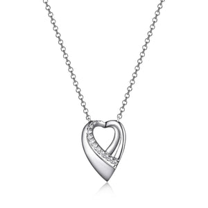 Open Heart Necklace  Sterling Silver and Cubic Zirconia  Comes on 16-18in Sterling Silver Chain