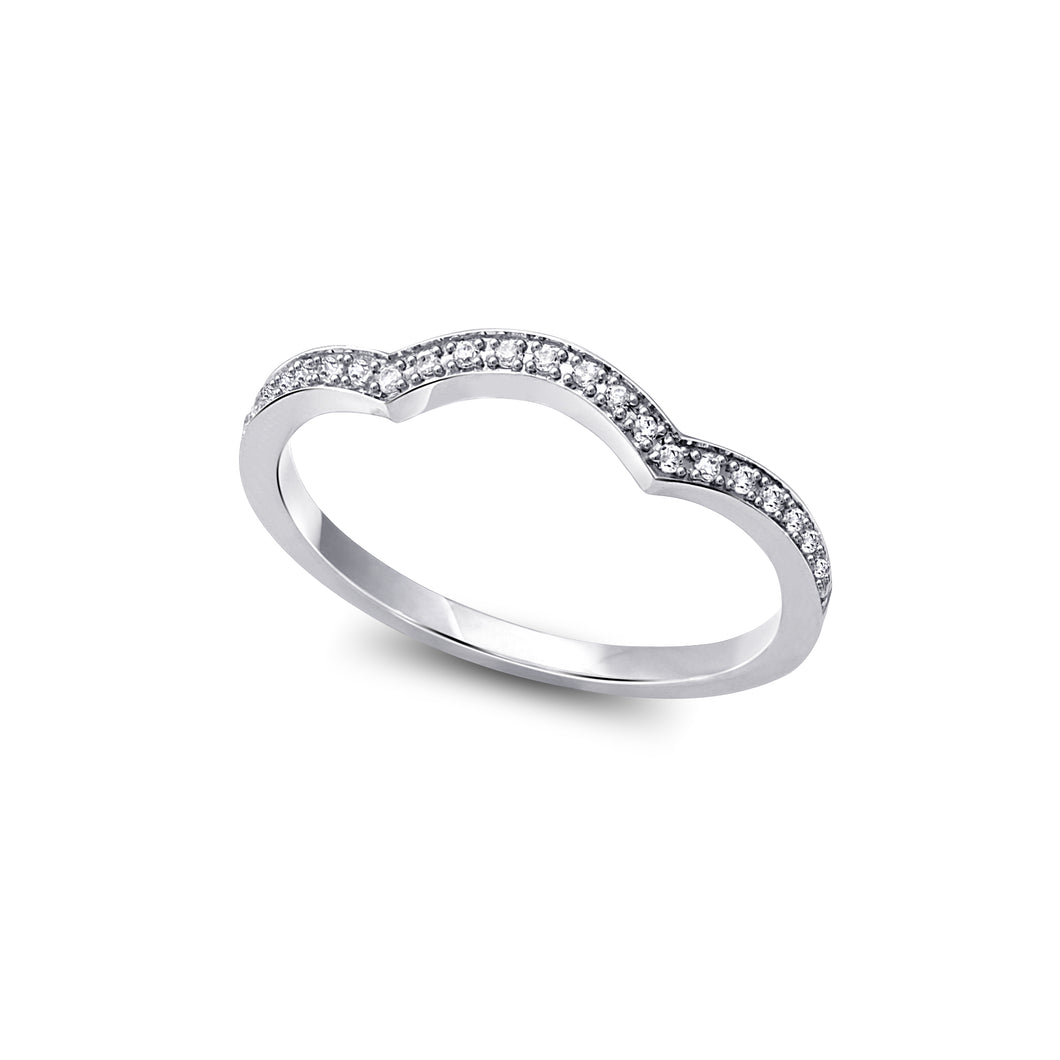 Diamond Wedding Band  0.08cttw  10k White Gold