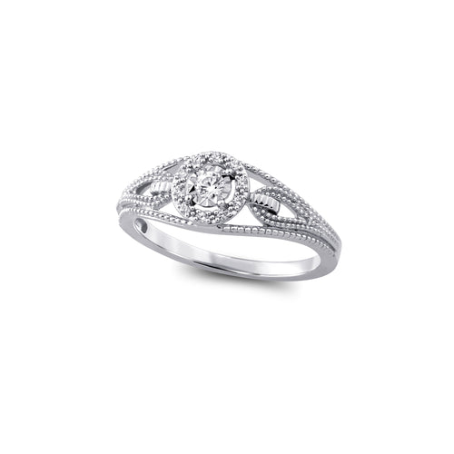 Diamond Engagement Ring  10k White Gold