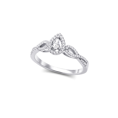 Pear Diamond Engagement Ring  0.31cttw  10k White Gold