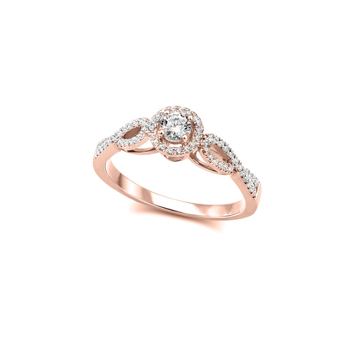 Diamond Engagement Ring  10k Rose Gold