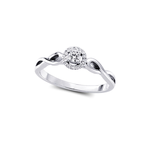 Diamond Engagement Ring  1=0.085ct  16=0.04ct  10k White Gold