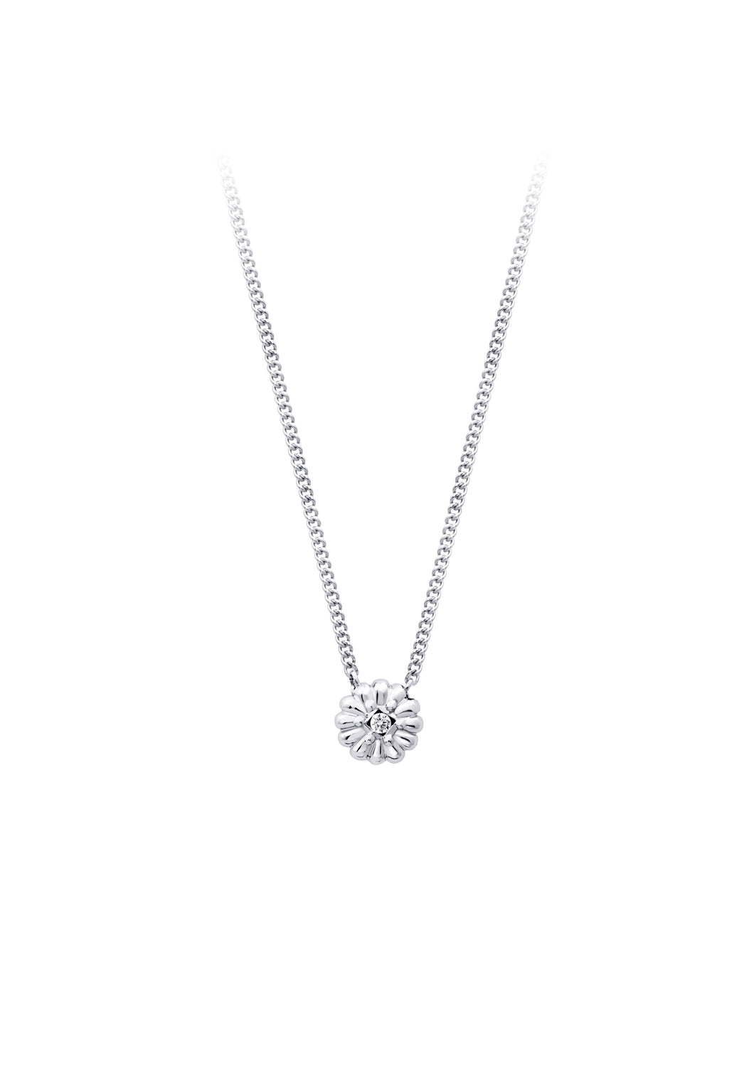 Diamond Flower Pendant  0.0085ct  10k White Gold  Comes with 10k Gold 18in Chain