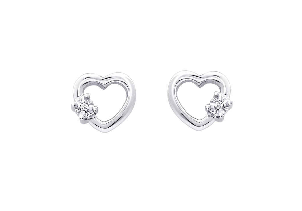 Diamond Heart Shaped Earrings  10k White Gold  2=0.01cttw