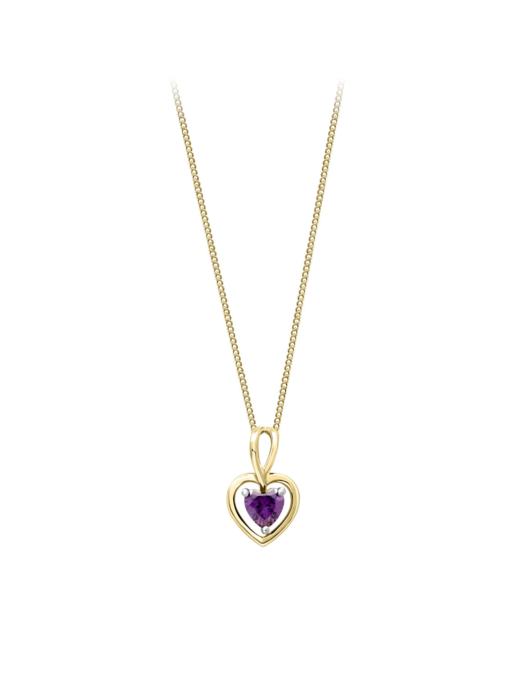 Genuine Amethyst Heart Pendant  10k Yellow Gold  Comes with 10k Gold 18in Chain