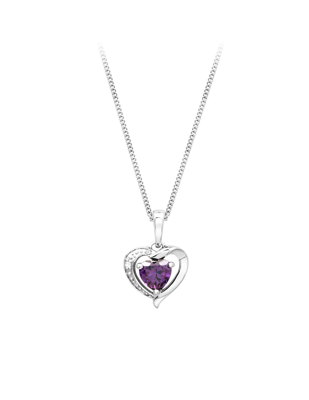 Diamond and Genuine Amythyst Heart Pendant  10K White Gold  0.005ct