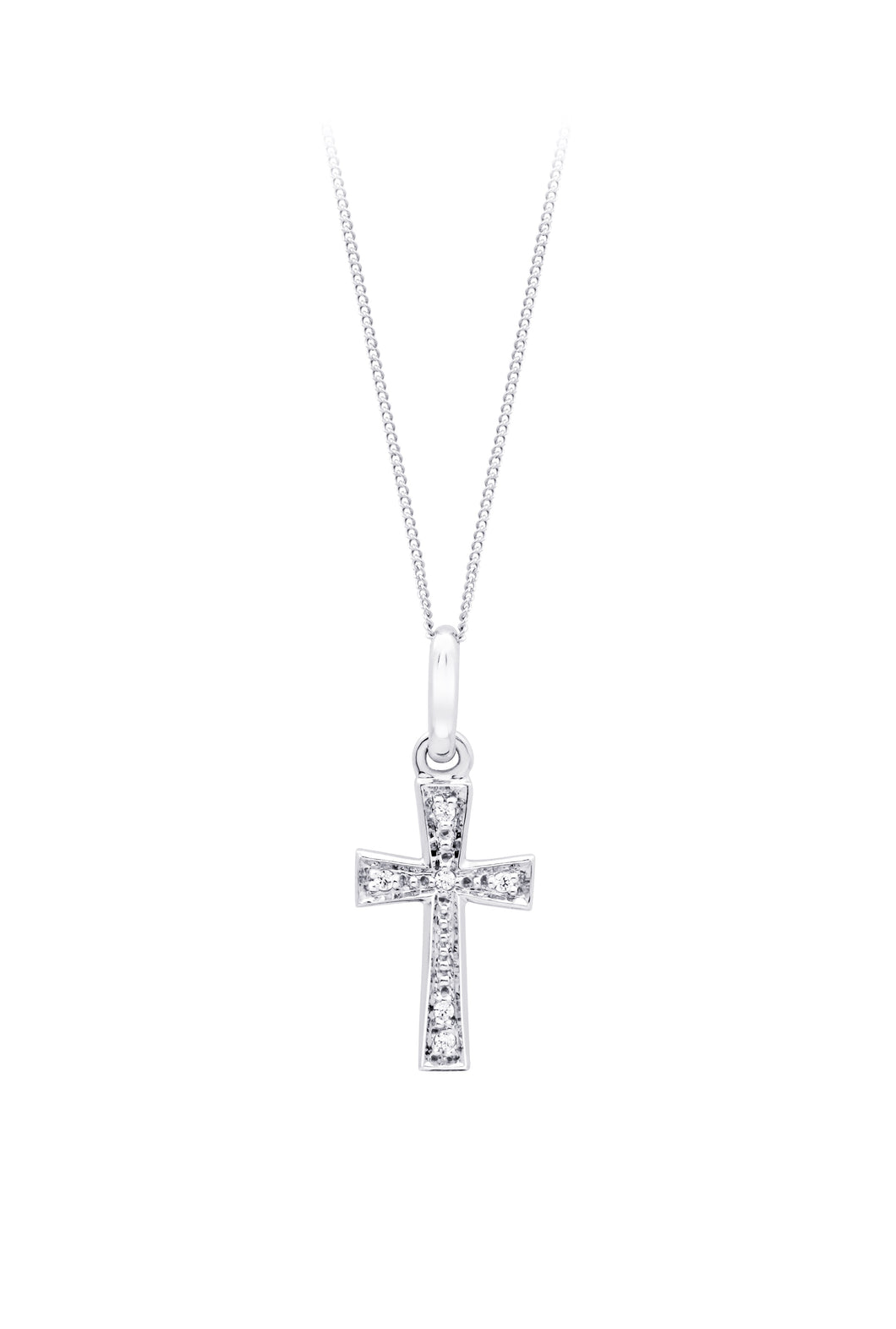 Diamond Cross Pendant  10k White Gold  6=0.03cttw