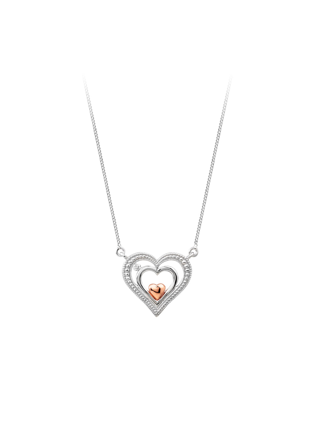 Diamond Triple Heart Necklace  10k White and Rose Gold  0.03ct
