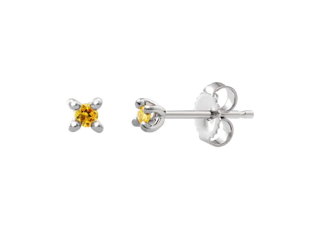 Yellow Diamond Stud Earrings  0.05cttw  10k White Gold