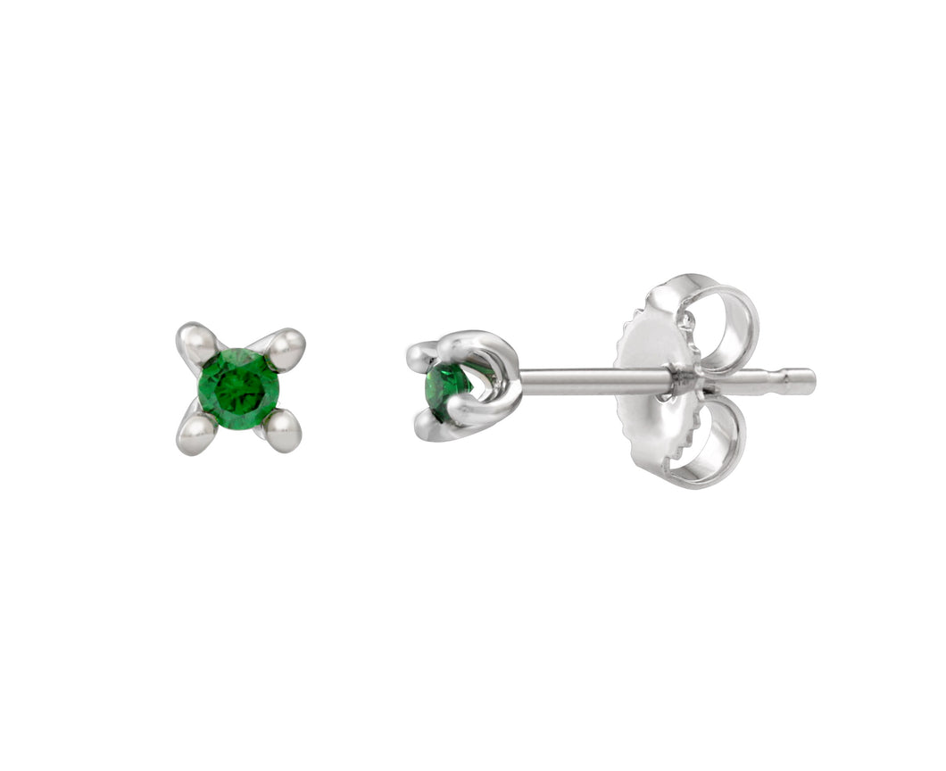 Green Diamond Stud Earrings  0.05cttw