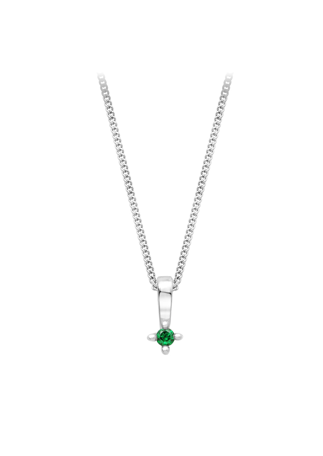 Green Diamond Solitaire Pendant  10k White Gold