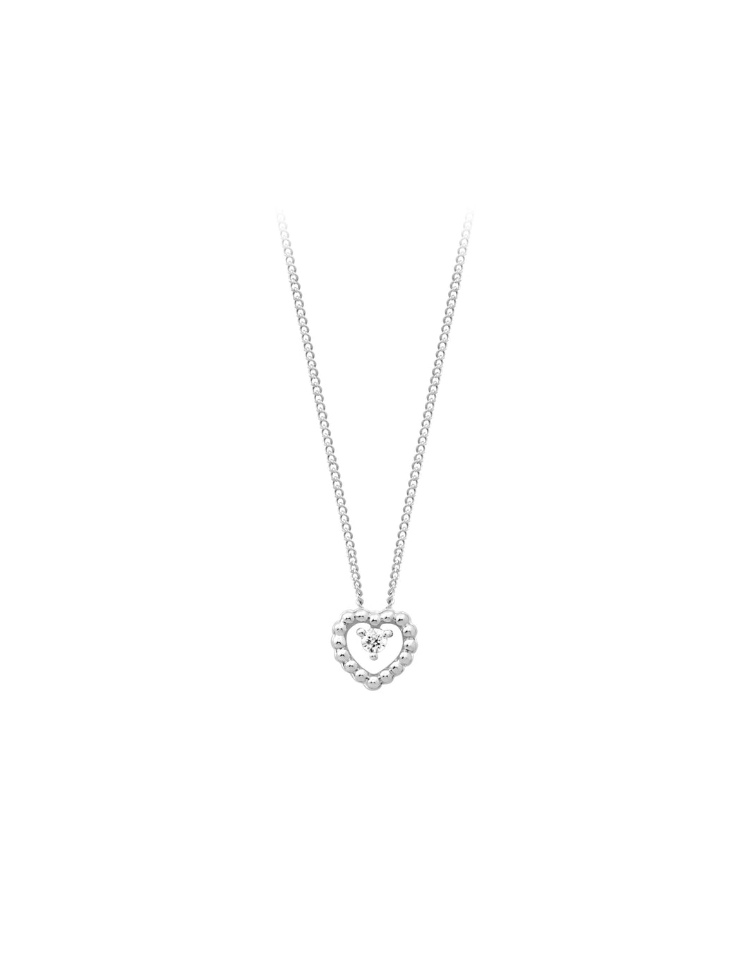 Diamond Beaded Gold Heart Pendant  10k White Gold  0.03ct