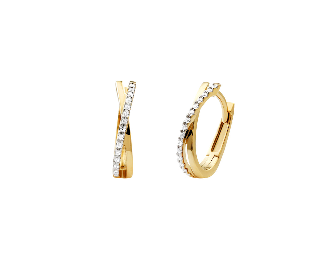 Diamond and 10k Yellow Gold  Crossover Huggy Earrings