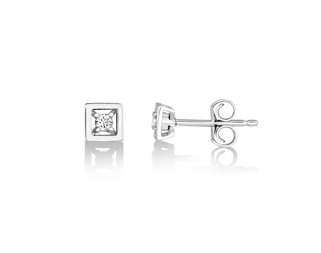 Diamond Square Earrings  10k White Gold  0.05cttw