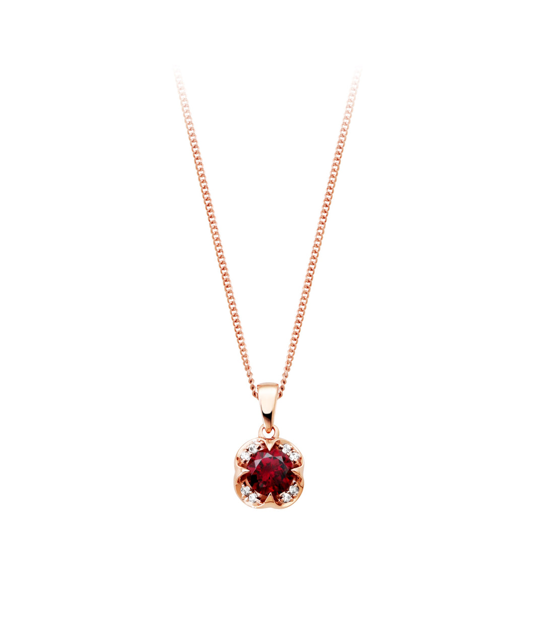 Genuine Rhodolite Garnet and Diamond Pendant  8=0.05cttw  10k Rose Gold