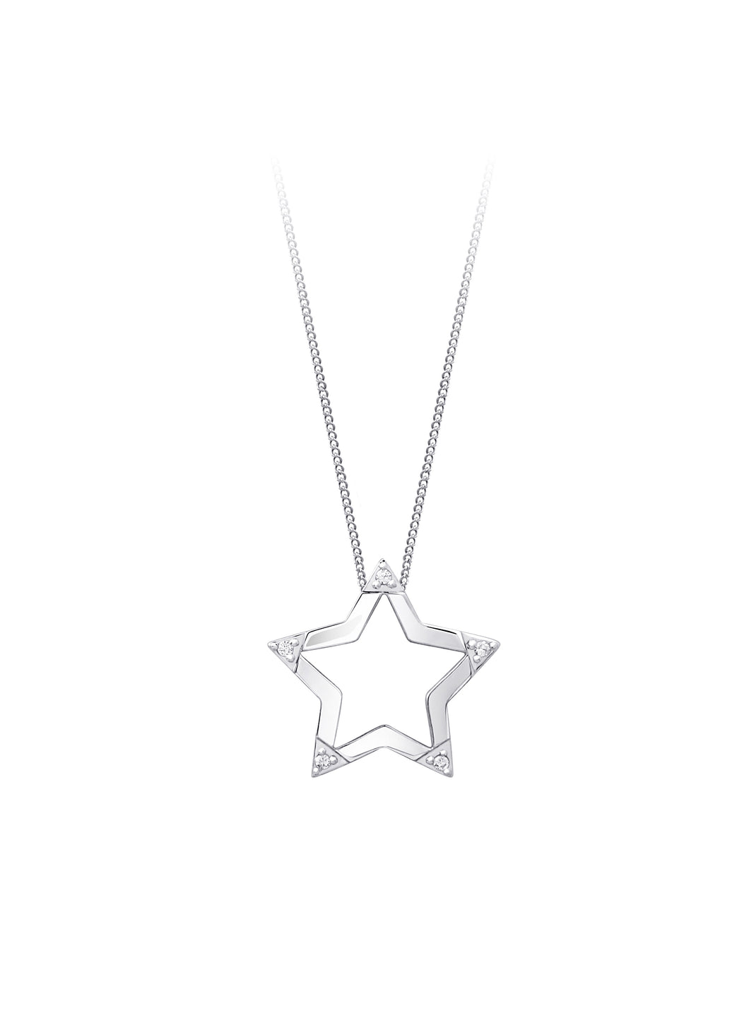 Diamond Star Pendant  10k White Gold  5=0.03cttw