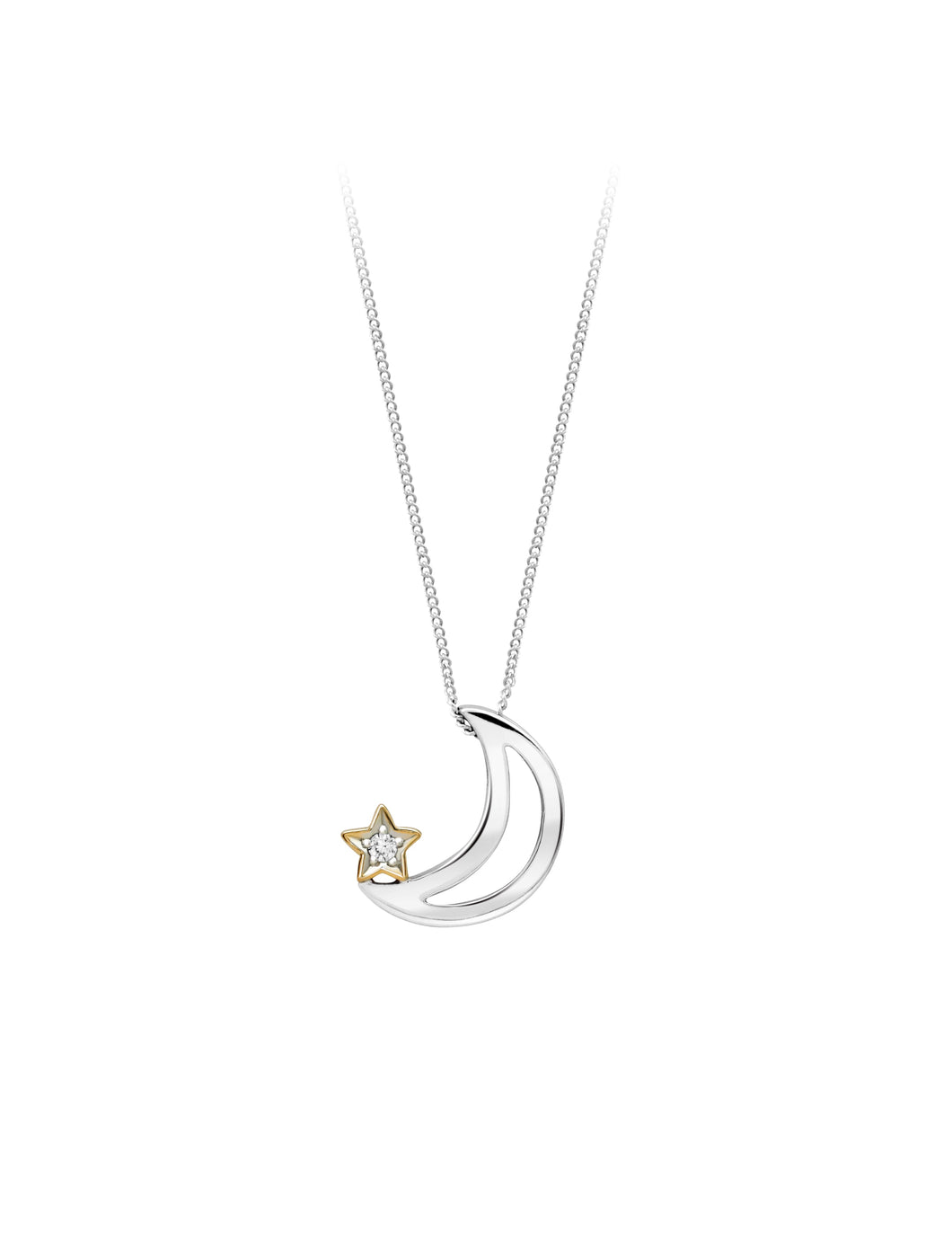 Diamond Star and Moon Pendant  10k Two Tone White and Yellow Gold  0.015ct