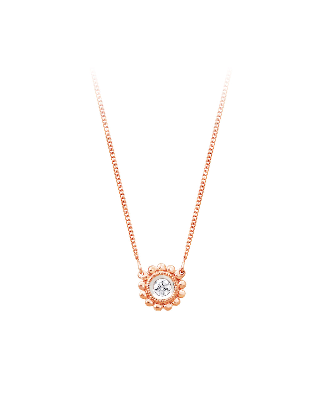 10k Rose Gold  Diamond Beaded Neacklace