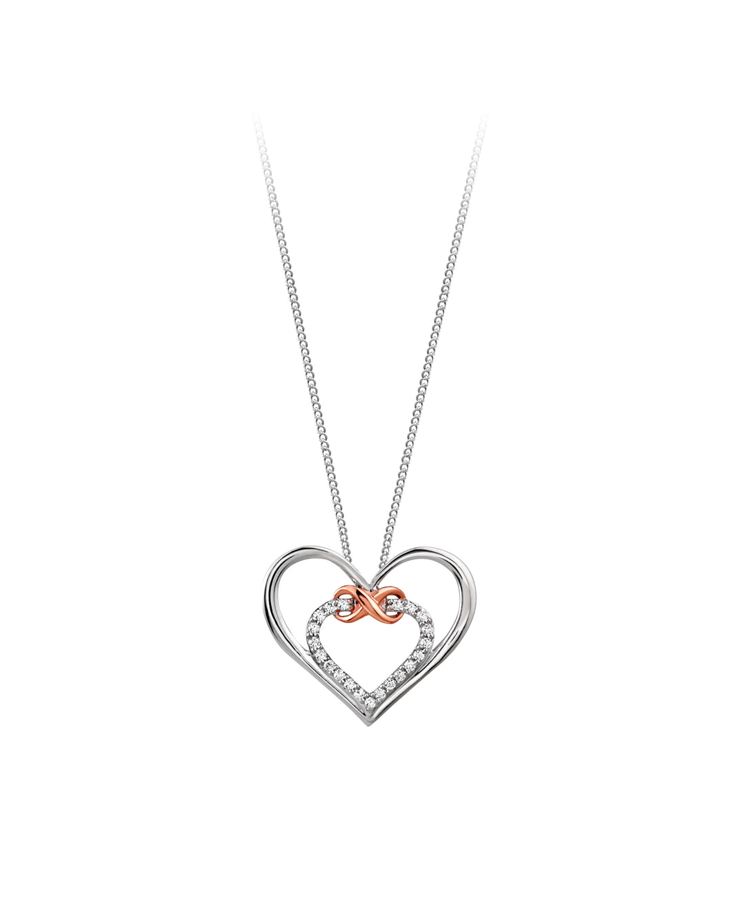 Diamond Infinity Heart Pendant  10k Two Tone Rose and White Gold