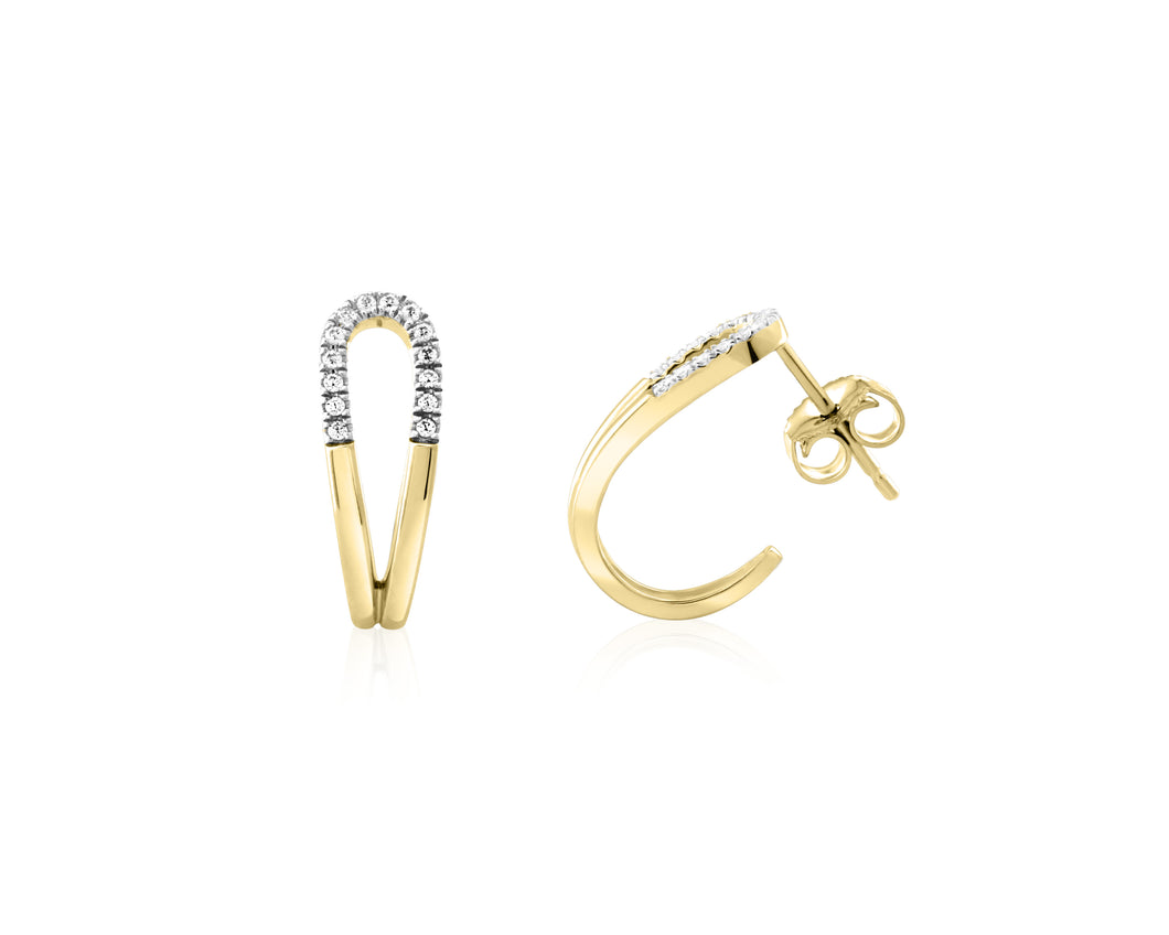 Diamond Looped Hoop Earrings  10k Yellow Gold  28=0.07cttw