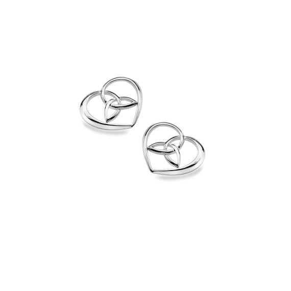 Silver Trinity in Heart Stud Earrings