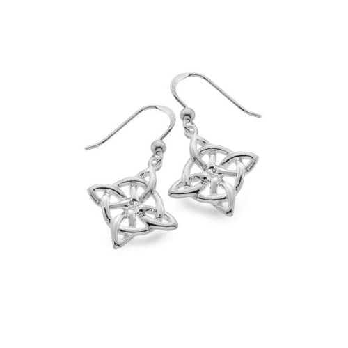 Silver Celtic Compass Knotwork Dangle Earrings
