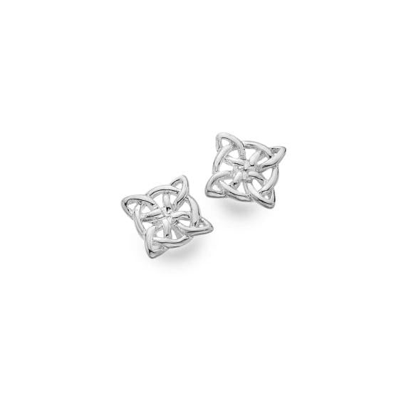 Silver Celtic Compass Knotwork Stud Earrings