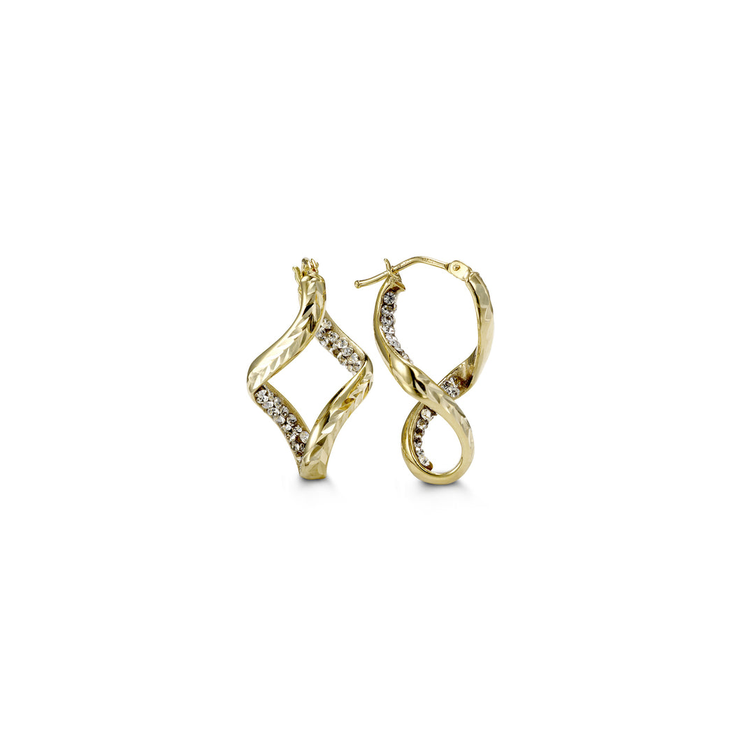Twist Earrings  Cubic Zirconia and Hollow 10k Gold  24mm