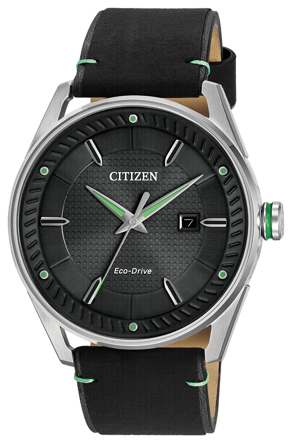 Citizen Eco Drive Black Leather Band;Black Face With Green Accents And Date