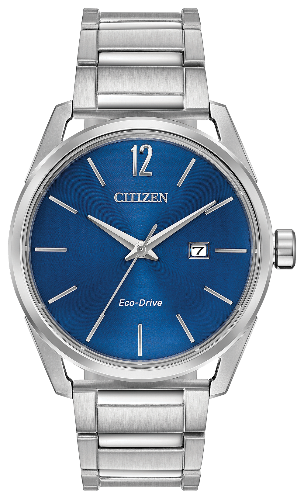 Citizen Eco Drive Watch Silver Tone Stainless Steel Band Blue Face With Day