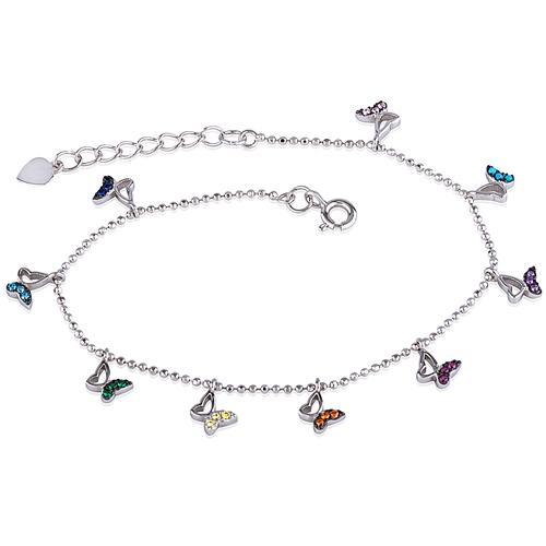 Silver Butterflies  Bracelet With Crystals and Rhodium Plated