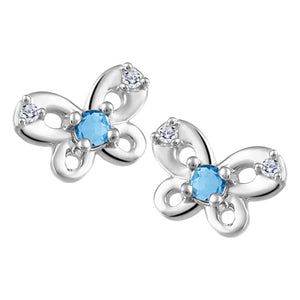 Small Butterfly Stud Earrings with Genuine Blue Topaz and Genuine Diamond  10K White Gold