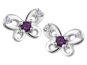 Small Genuine Amethyst and Genuine Diamond Butterfly Stud Earrings  10K White Gold