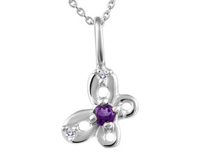 Small genuine Amethyst & genuine Diamond Butterfly Pendant  10k White Gold  Comes with 14in chain