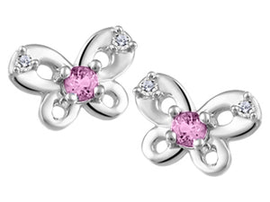 Small Genuine Pink Topaz & Genuine Diamond Butterfly Stud Earrings