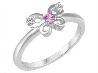 Pink Topaz & Diamond Butterfly Ring
