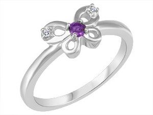 Children's Genuine Amethyst and Genuine Diamond Butterfly Ring  10k White Gold  Size 2.5