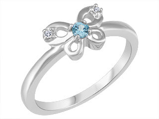 Children's Genuine Blue Topaz & Genuine Diamond Butterfly Ring  10k White Gold  Size 2.5