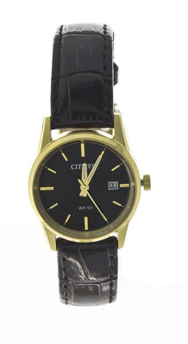Citizen Quartz Watch Features Leather Band