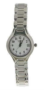 Citizen Quartz Watch Silvertone Watch with White Face Features Date Number