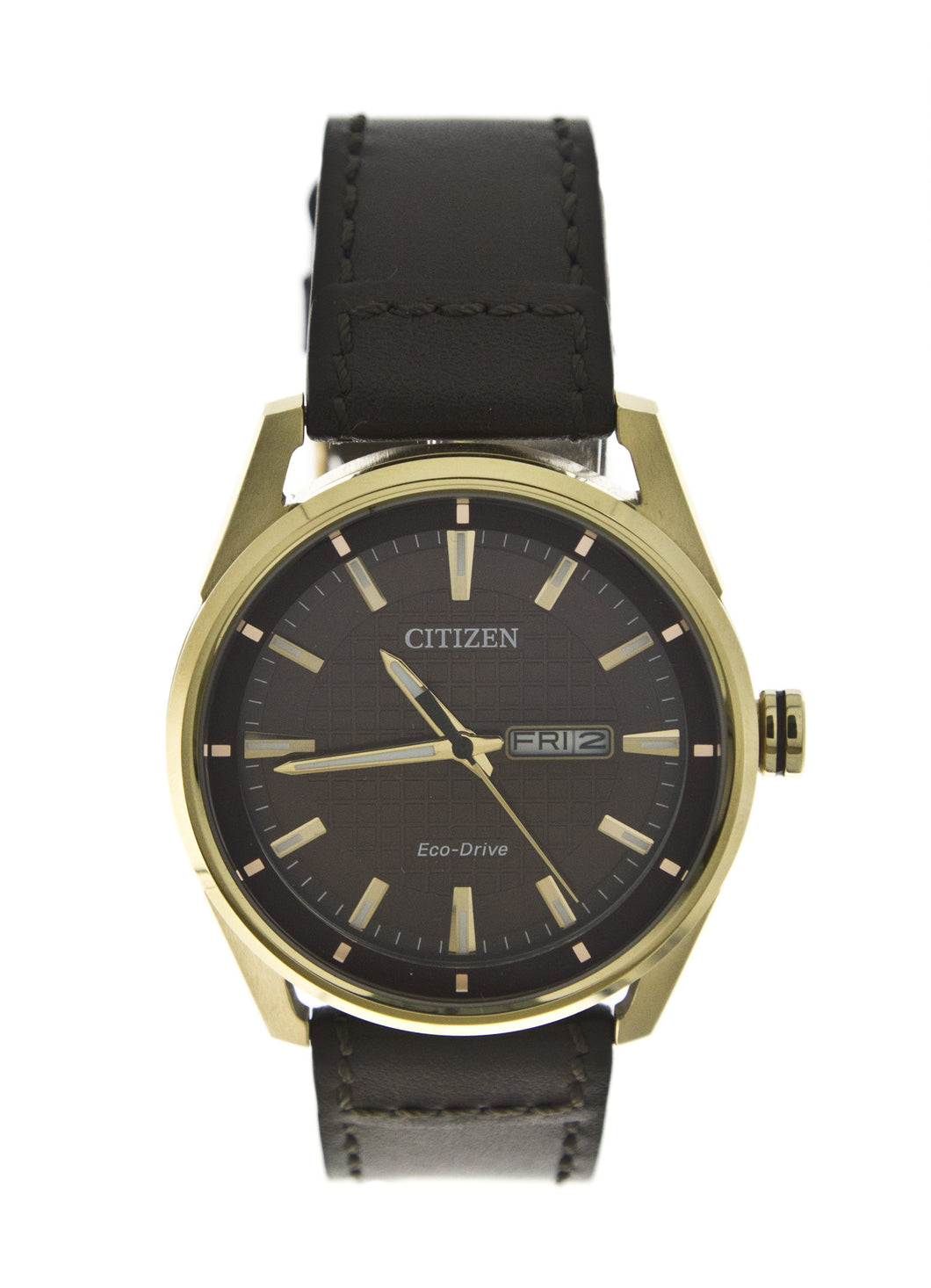Citizen Eco-Drive Watch with Brown Face and Brown Leather Band Featuring Eco-Drive technology Ð powered by light, any light. Never needs a battery.