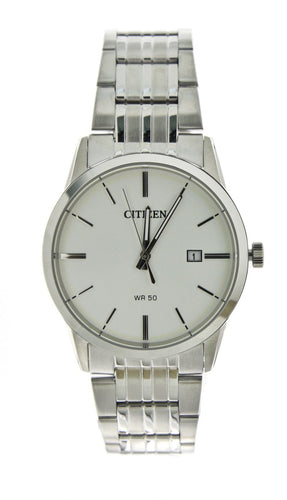 Citizen Quartz Watch with White Face Features a Metal Foldover Closure on Band