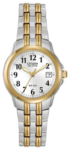 "This timepiece from CITIZEN®'s Corso collection exemplifies the phrase ""crisp and clean."" Easy-to-read, black Arabic numerals sit on a white dial with a date indicator and luminous hour and minute hands. This two-tone stainless steel timepiece features a 26mm case, and a fold over clasp with push button. Water resistant up to 100 metres."