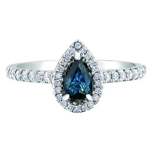Load image into Gallery viewer, Sapphire and Diamond Pear Halo Ring 10k White Gold