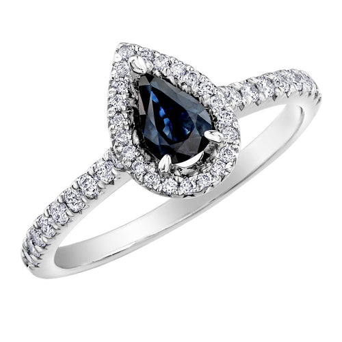 Sapphire and Diamond Pear Halo Ring 10k White Gold