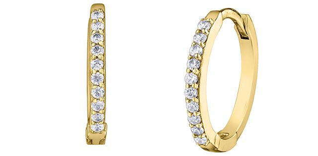 Diamond Hoop Earrings 0.10cttw 10K Yellow Gold