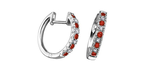 Ruby and Diamond Hoop Earrings 10K White Gold